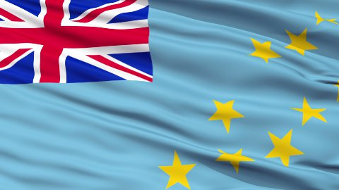 Close Up Waving National Flag of Tuvalu - stock footage