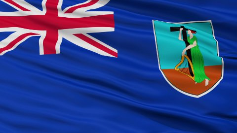 Close Up Waving National Flag of Montserrat - stock footage