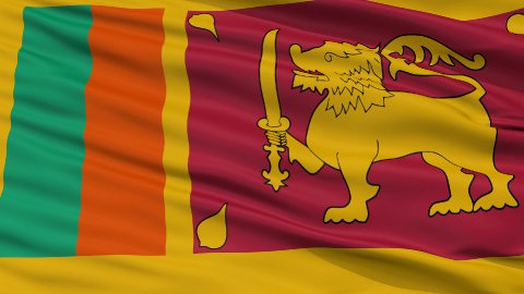 Close Up Waving National Flag of Sri Lanka - stock footage