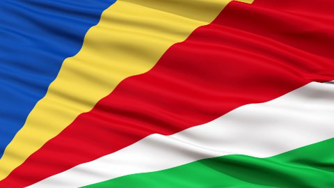 Close Up Waving National Flag of Seychelles - stock footage