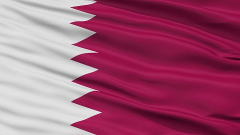 Close Up Waving National Flag of Qatar - stock footage