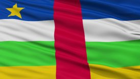 Close Up Waving National Flag of Central Africa
