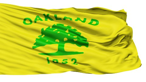 Isolated Waving National Flag of Oakland City - stock footage