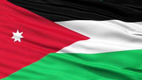 Close Up Waving National Flag of Jordan - stock footage