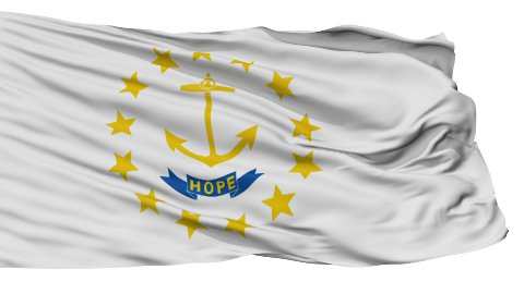 Isolated Waving National Flag of Rhode Island - stock footage