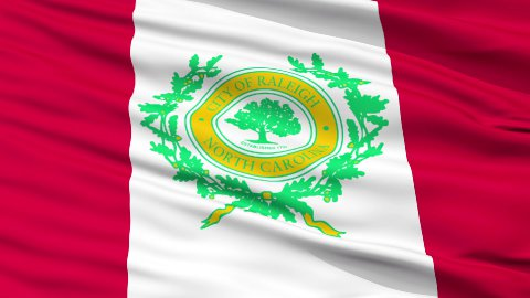 Close Up Waving National Flag of Raleigh City - stock footage