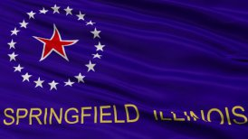 Close Up Waving National Flag of Springfield City