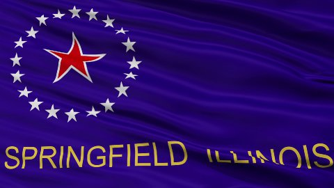 Close Up Waving National Flag of Springfield City - stock footage