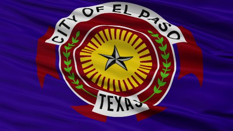 Close Up Waving National Flag of El Paso City - stock footage