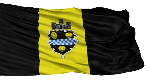 Isolated Waving National Flag of Pittsburgh City - stock footage