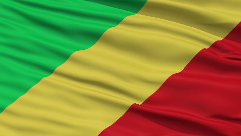 Close Up Waving National Flag of Republic of the Congo - stock footage
