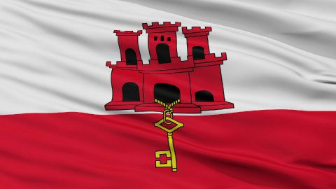 Close Up Waving National Flag of Gibraltar - stock footage