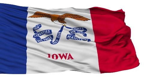 Isolated Waving National Flag of Iowa - stock footage