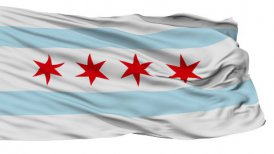 Isolated Waving National Flag of Chicago City