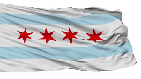 Isolated Waving National Flag of Chicago City - stock footage