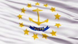 Close Up Waving National Flag of Rhode Island