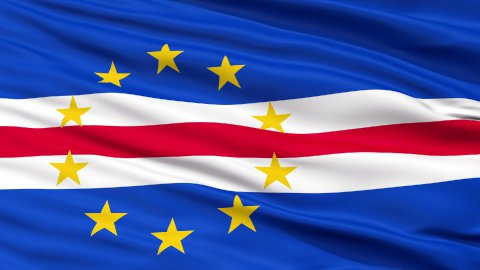 Close Up Waving National Flag of Cape Verde - stock footage