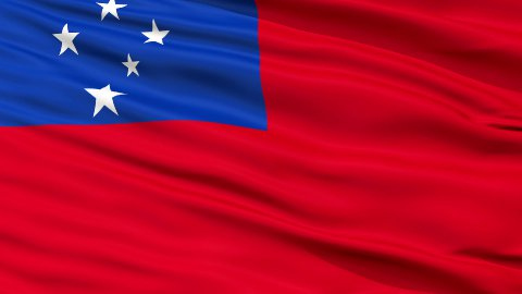 Close Up Waving National Flag of Samoa - stock footage