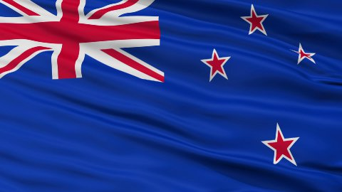 Close Up Waving National Flag of New Zealand - stock footage
