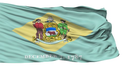 Isolated Waving National Flag of Delaware - stock footage