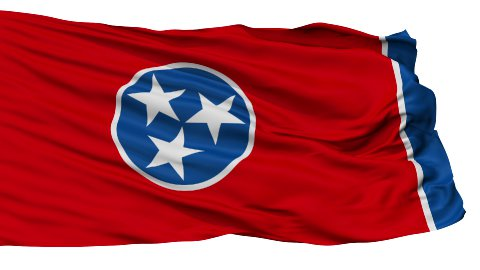 Isolated Waving National Flag of Tennessee - stock footage