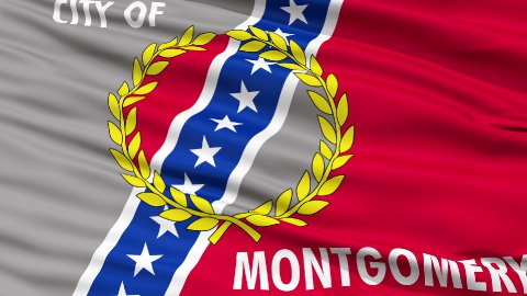 Close Up Waving National Flag of Montgomery City - stock footage