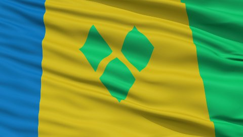 Close Up Waving National Flag of Saint Vincent and the Grenadines - stock footage