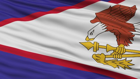 Close Up Waving National Flag of American Samoa - stock footage