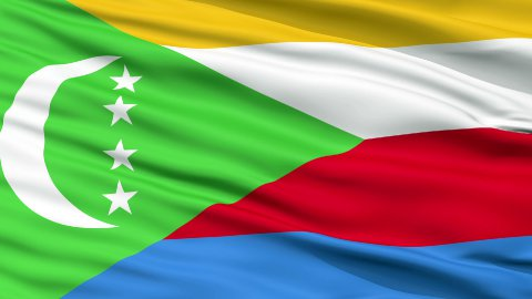 Close Up Waving National Flag of Comoros - stock footage