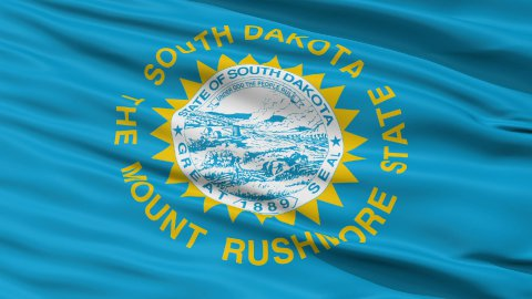 Close Up Waving National Flag of South Dakota - stock footage