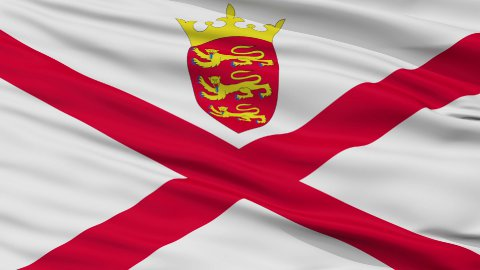 Close Up Waving National Flag of Jersey - stock footage