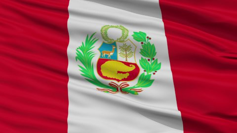 Close Up Waving National Flag of Peru - stock footage