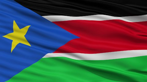 Close Up Waving National Flag of South Sudan - stock footage