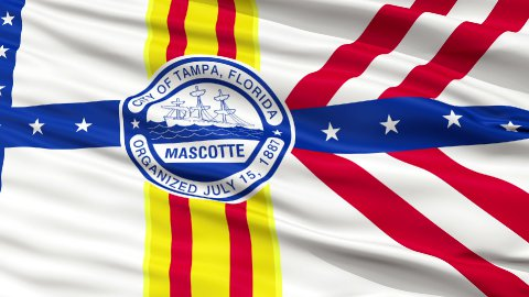 Close Up Waving National Flag of Tampa City - stock footage