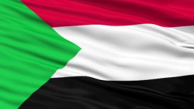 Close Up Waving National Flag of Sudan