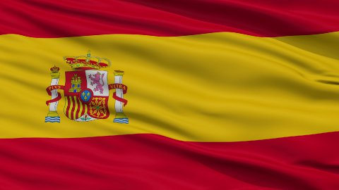 Close Up Waving National Flag of Spain - stock footage