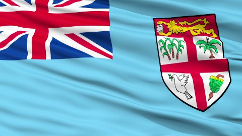 Close Up Waving National Flag of Fiji - stock footage