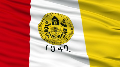 Close Up Waving National Flag of San Diego City - stock footage