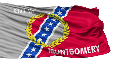 Isolated Waving National Flag of Montgomery City - stock footage