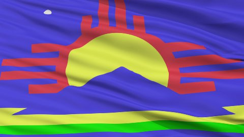 Close Up Waving National Flag of Roswell City - stock footage