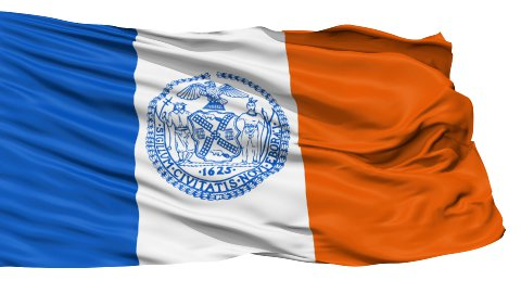 Isolated Waving National Flag of New York City - stock footage