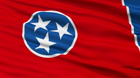 Close Up Waving National Flag of Tennessee - stock footage