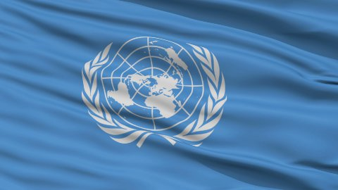 Close Up Waving Flag of United Nation - stock footage