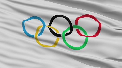 Close Up Waving Flag of Olympic Games - stock footage