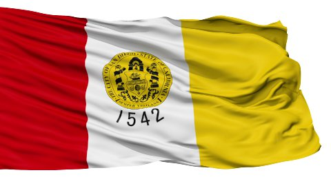 Isolated Waving National Flag of San Diego City - stock footage