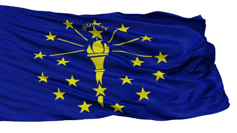 Isolated Waving National Flag of Indiana - stock footage