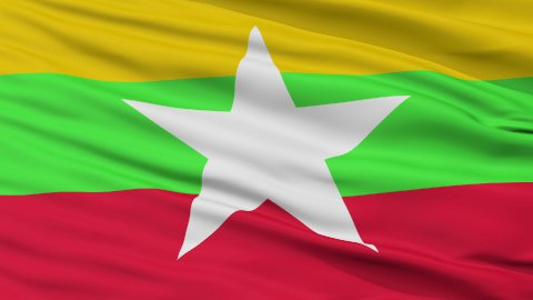 Close Up Waving National Flag of Myanmar - stock footage