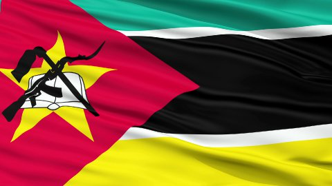 Close Up Waving National Flag of Mozambique - stock footage