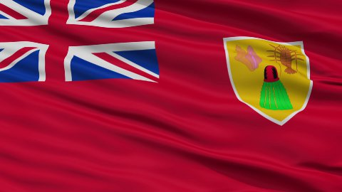 Close Up Waving National Flag of Turks and Caicos Islands - stock footage