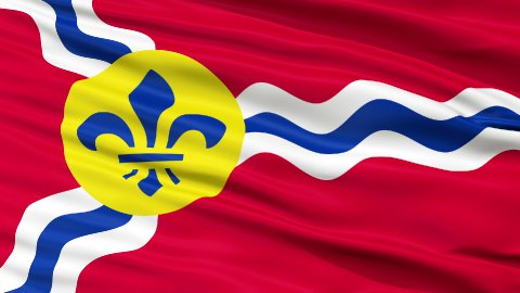 Close Up Waving National Flag of St. Louis City - stock footage